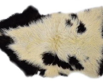 "Unique Handmade Sheepskin Rug, Genuine Pelt, Soft Wool, Ethically Sourced in Europe, 2'3"" x 3'10"""