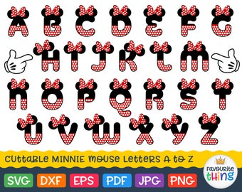 Minnie Font Svg Polka dot Letters with Bow Svg Minnie Mouse Monogram Svg Baby Girl Initials Svg Cricut Files Dxf Silhouette Alphabet Png Eps