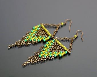 Green stud earrings.