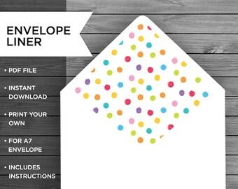 Dots Envelope Liner, Envelope Liner, Envelope Printable, A7 Envelope Liner, Stationery Liner, Personalised Envelope, Polka Dots, Multi-color