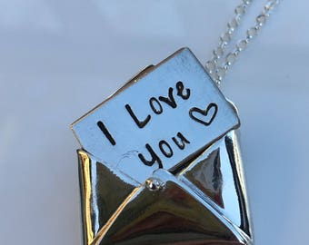 envelope locket in sterking silver with a secret message. A unique gift for mum a gift for your wife partner girlfriend bridesmaid