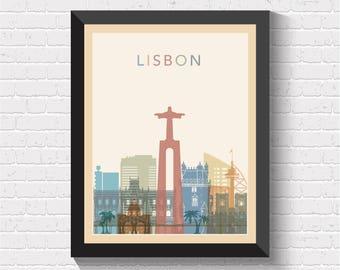 Lisbon Skyline, Lisbon Print, Lisbon Poster, Lisbon Wall Art, Lisbon Art, Lisbon Cityscape, Lisbon View, Lisbon Art Print, Portugal Art