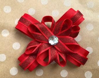 Glittery red hair flower bow