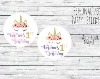 Unicorn Birthday Stickers, Unicorn Party Stickers, Unicorn Birthday, Unicorn Stickers, Unicorn Party Supplies, Unicorn Birthday Party, pink