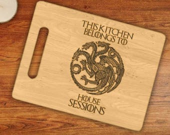 Personalized This Kitchen Belongs To House Custom Name Targarien Dragons Engraved Cutting Board
