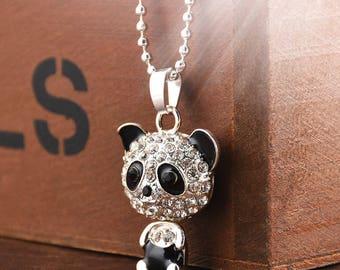 Women Panda Cute Silver Pendant Necklace