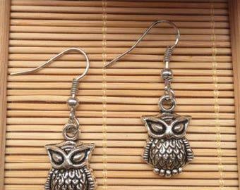 Antique Silver Owl Earrings