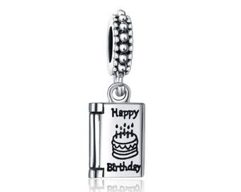 Pandora charms silver jewellery birthday charms happy birthday silver 925 Dangle charm fits pandora bracelets personalised jewellery gift