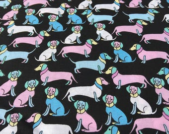 Blue and Pink Dachshund Cotton Fabric, Sold by the Yard, 1 Yard