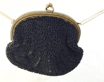 Vintage Black Beaded Small Clutch | Antique Coin Purse | Free Shipping