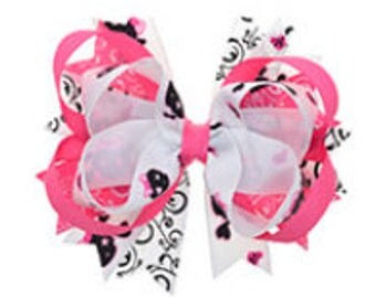 Pink/White Hair Bow, Girly Bow