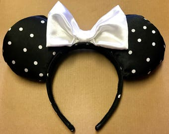 Black and White, Polka Dot, Minnie Mouse Ears