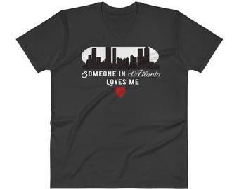 Valentine's Day  Someone in Atlanta Loves me  City Skyline V-Neck T-Shirt