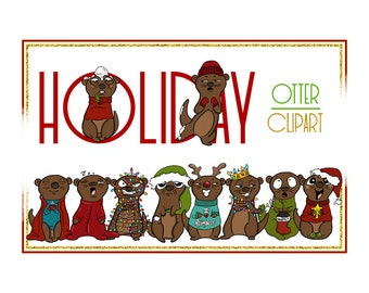 Holiday Clipart-Otter Clipart-Otter Christmas Clipart-Cartoon-Sticker Clipart-Otter art-Digital-Otter XMAS Drama-Commercial-Otter Love