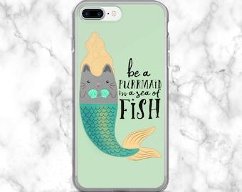 Cat Mermaid iPhone 7 Plus Case / Cat Mermaid iPhone 7 Case / Mermaid Phone Case / Cat Mermaid Phone Case / Mermaid Lover Gift / Cat Gift