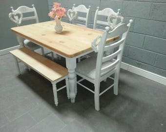 6FT  Shabby chic table /bench set