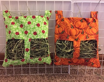 Hay Bag for Guinea Pigs and Rabbits with Snap Clasps -Comes in 25 fun patterns!
