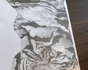 Side view of a tiger pencil drawing on a3 paper