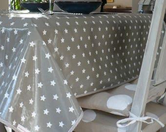Nappe rectangulaire en toile cirée grise étoiles blanches 130x190cm