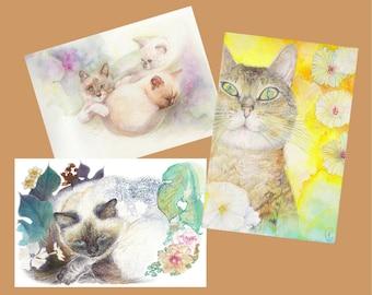 Set of 3 cats + envelopes