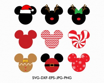 Christmas Mickey Minnie Ears Monogram Frame svg, Minnie Bow Disney Monogram, svg dxf for Silhouette Cricut,  Svg Dxf Png files designs