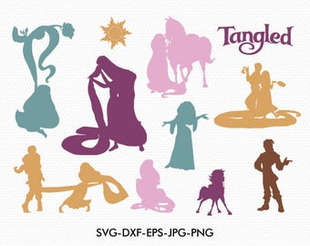 Tangled silhouettes svg, Disney tangled silhouette clipart EPS png jpg files. Disney svg dxf for Silhouette Cameo or Cricut