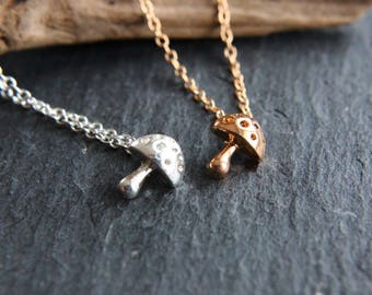 Lucky mushroom fly mushroom necklace in gold or silver necklace