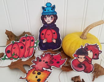 CUTE Homemade Vinyl Sticker lot of 4 Fall themed Manga Illustrations