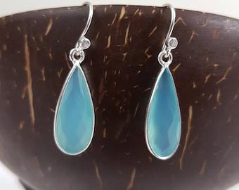 Drop earrings - blue natural stone