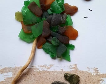 Cornish Pebble Sea Glass Couple Dog Laying under Tree Unique Handmade Box Frame