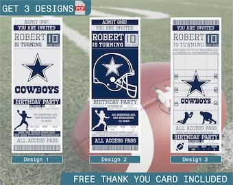 Dallas Cowboys Birthday Invitation, Printable Ticket Party Invitation, Football Personalized Birthday Invite, Digital Files