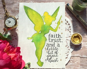 "7x5 Original Watercolor ""Tinkerbell"" silhouette"
