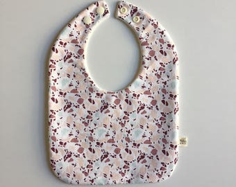 Adjustable bib from birth to 36 months cotton pink and mint spots