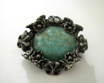 Vintage 'MIRACLE' Scottish Celtic Brooch with Faux Turquoise Stone 1960s