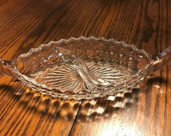 Vintage Fostoria American Clear Relish Dish