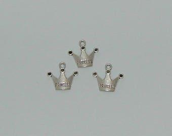 10 pendants antique silver princess Crown