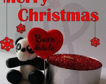 Christmas Panda fimo and Red candle