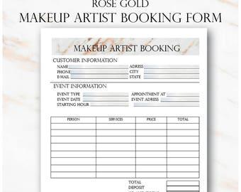 Rose Gold Makeup Artist Booking Form, Freelance Makeup Artist Business Planner Forms, Makeup Artist Planner, Wedding Makeup Artist Booking,