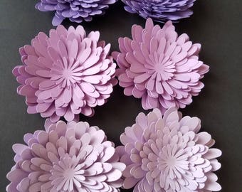 Set of 12 Shades of Purple Paper Flowers, Bridal Shower Decor, Baby Shower Decor, Table Decor