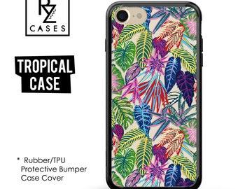 Tropical phone case, Tropical iPhone 7 Case, Palm Leaves, Tropical iPhone 6 Case, iPhone 7 Plus, Gift For Her, Rubber, Bumper Case