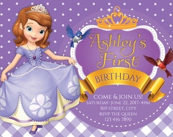 Sofia The First Birthday Etsy - Birthday invitation template sofia the first