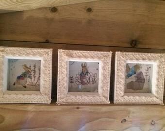 Peter Rabbit framed prints~Beatrix Potter~Easter gifts~Nursery prints ~Baby shower - Peter Rabbit pictures~ Christening gift.