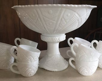 Vintage Milk Glass pedestal punch bowl with 12 cups