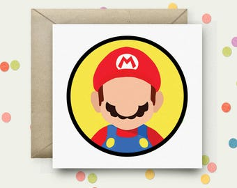 Mario Square Pop Art Card & Envelope