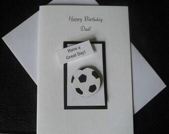 Handmade 3D Birthday card, Football Design Dad Grandad Son