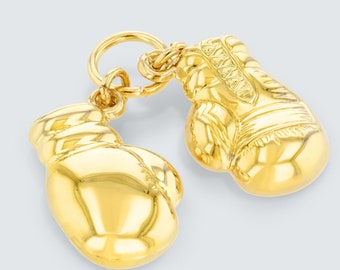 High Polish 14k Yellow Gold 3D Boxing Gloves Charm Sports Pendant