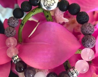 Amethyst and Rose Quartz Essential Oil Diffuser Bracelet