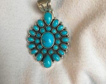 Multi sleeping beauty turquoise pendant