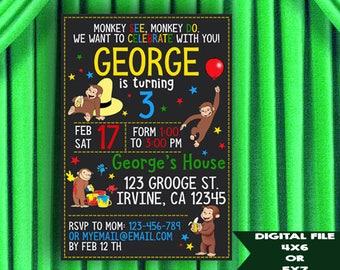 Curious George invitation, Curious George birthday invitation, Curious George party invitation, Curious George chalkboard invitation