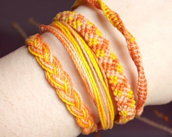 Peach Casual Combo Bracelets, Guatemalan Bracelets, Handmade bracelets, colorful bracelets, fruit based, fruit weave, friendship bracelets.